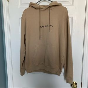 Pretty Little Thing tan embroidered hoodie